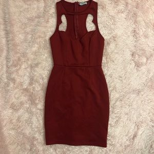 Tobi XS deep red racer dress